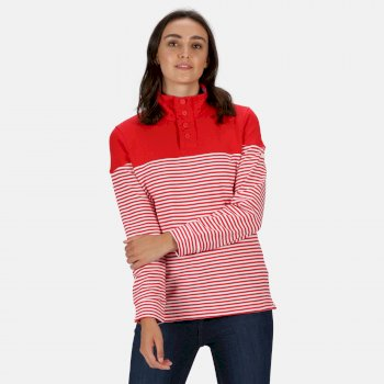 Women's Camiola Lightweight Funnel Neck Sweatshirt True Red Stripe