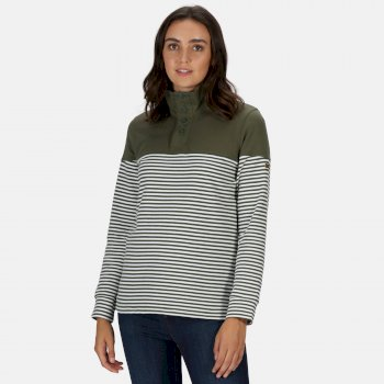 Women's Camiola Lightweight Funnel Neck Sweatshirt Thyme Leaf Stripe