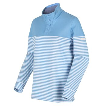 Women's Camiola Lightweight Funnel Neck Sweatshirt Blue Skies Stripe