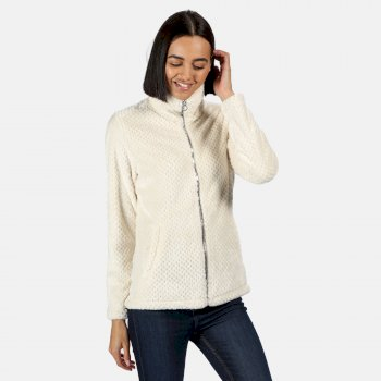 Women's Hermilla Full Zip Velour Fluffy Fleece Light Vanilla