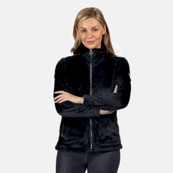 Women's Hermilla Full Zip Velour Fluffy Fleece Navy
