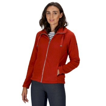 RWA449_021: Womens Zaylee Full Zip Mid Weight Fleece Burnt Tikka