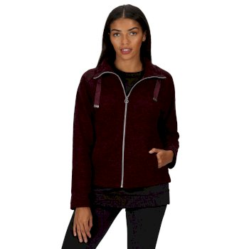 Women's Zaylee Full Zip Mid Weight Fleece Dark Burgundy Marl
