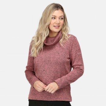 Women's Hedda Cowl Neck Fleece Dusty Rose Knit Effect