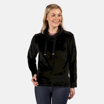 Women's Hannelore Overhead Fluffy Fleece Black Velour