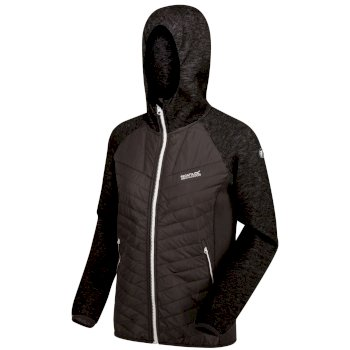 Women's Pemble II Hybrid Full Zip Hooded Walking Fleece Ash Black