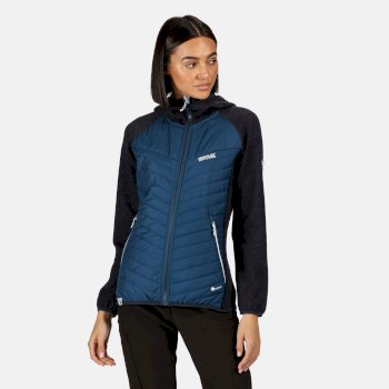 Women's Pemble II Hybrid Full Zip Hooded Walking Fleece Blue Opal Navy