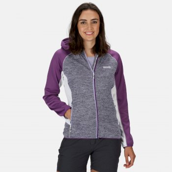 Women's Walbury Full Zip Hooded Marl Knit Walking Fleece Lilac Bloom Plum Jam