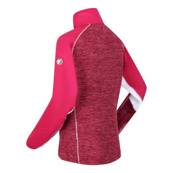 Women's Lindalla Full Zip Mid Weight Marl Knit Walking Fleece Dark Cerise