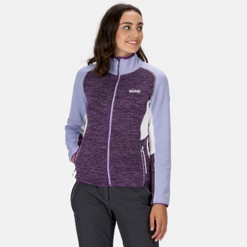Women's Lindalla Full Zip Mid Weight Marl Knit Walking Fleece Plum Jam Lilac Bloom