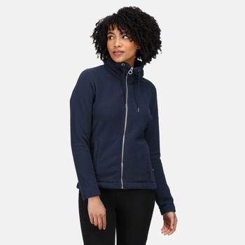 RWA497_EW8: Womens Zabelle Full Zip Fleece Navy Fluffy