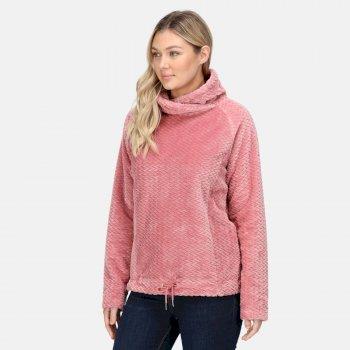 Women's Bethan Wrap Neck Fleece Dusty Rose Plait Fluffy