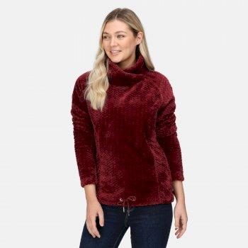 Women's Bethan Wrap Neck Fleece Claret Fluffy