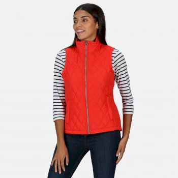 Women's Charna Insulated Diamond Quilted Bodywarmer True Red Ditsy