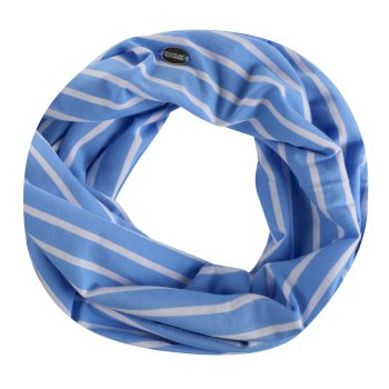 Shaila Striped Jersey Scarf Blue Skies White