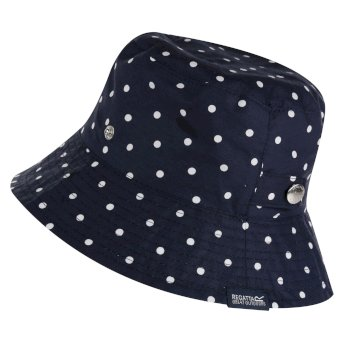 Women's Tibby Printed Hat Navy Polka Dot