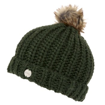 Women's Lovella II Chunky Knit Bobble Hat Dark Khaki