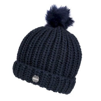 Women's Lovella II Chunky Knit Bobble Hat Navy