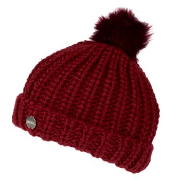 Women's Lovella II Chunky Knit Bobble Hat Delhi Red