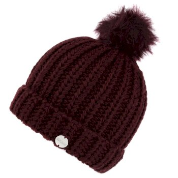 Kimberley Walsh Lovella II Chunky Knit Bobble Hat Dark Burgundy