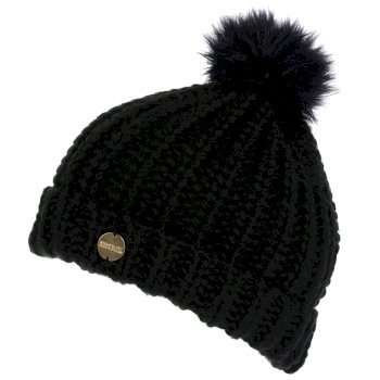 Women's Lovella II Chunky Knit Bobble Hat Black