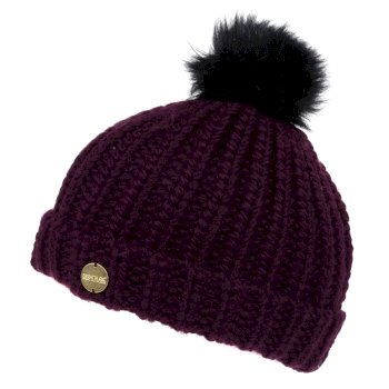 Women's Lovella II Chunky Knit Bobble Hat Prune