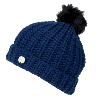 Women's Lovella II Chunky Knit Bobble Hat Blue Opal