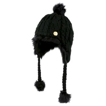 Women's Floy Fur Lined Chullo Hat Black