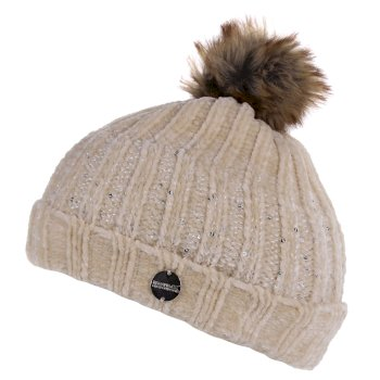 Women's Lorelai Sequin Bobble Hat Light Vanilla
