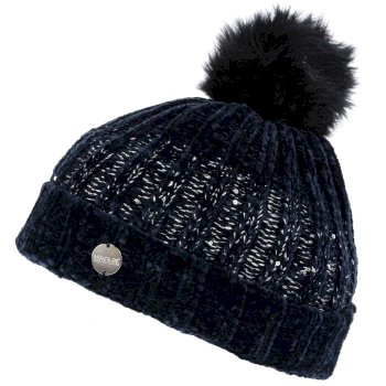 Women's Lorelai Sequin Bobble Hat Navy