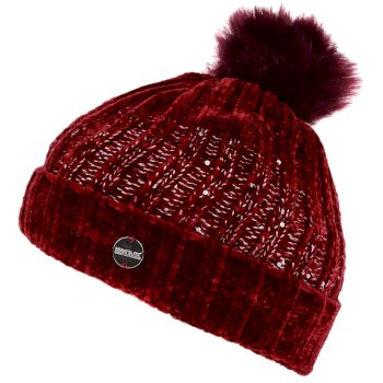 Women's Lorelai Sequin Bobble Hat Delhi Red