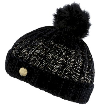 Women's Lorelai Sequin Bobble Hat Black