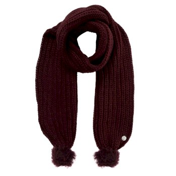 Women's Lovella Pom Pom Scarf Dark Burgundy