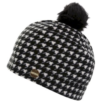 Women's Azni Printed Fleece Bobble Hat Black Houndstooth
