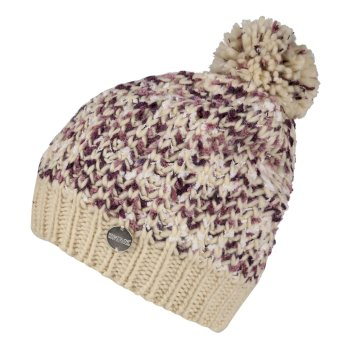 Women's Lorelai II Chunky Acrylic Knit Bobble Hat Light Vanilla