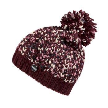 Women's Lorelai II Chunky Acrylic Knit Bobble Hat Burgundy