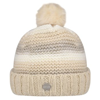 Kimberley Walsh Frosty IV Fleece Lined Knitted Bobble Hat Light Vanilla