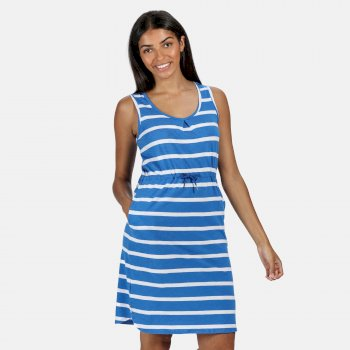 Kimberley Walsh Felixia Striped Sleeveless Dress Strong Blue