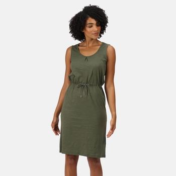 Women's Felixia Striped Sleeveless Dress Solid Thyme Leaf