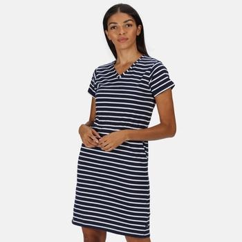Women's Havilah Jersey Coolweave Dress Navy White Stripe
