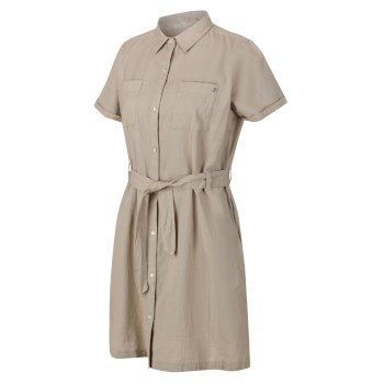 Women's Quinty Short Sleeved Utility Shirt Dress Nutmeg Cream