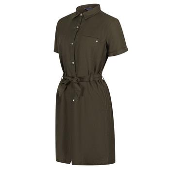 Women's Quinty Short Sleeved Utility Shirt Dress Grape Leaf