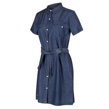 Women's Quinty Short Sleeved Utility Shirt Dress Chambray
