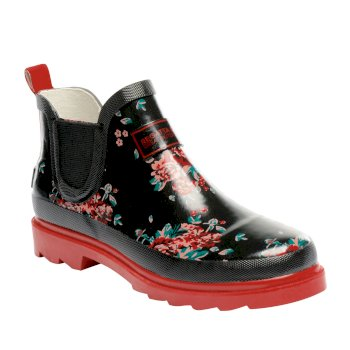 Women's Harper Low Wellington Boots Black Molten Floral Print