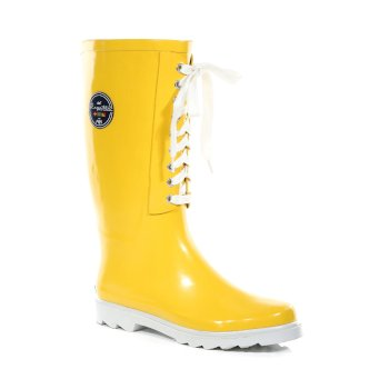 Women's Bayeux II Lace Up Wellingtons Lifeguard Yellow White
