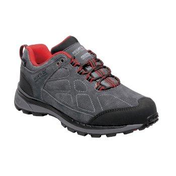 Women's Samaris Suede Low Walking Shoes Briar Grey Red Alert