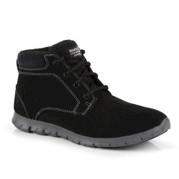 Women's Marine Suede Thermo Ankle Boots Black Granite