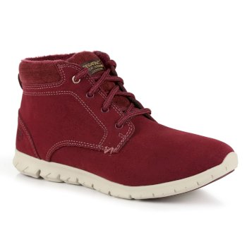 Women's Marine Suede Thermo Ankle Boots Burgundy Warm Beige