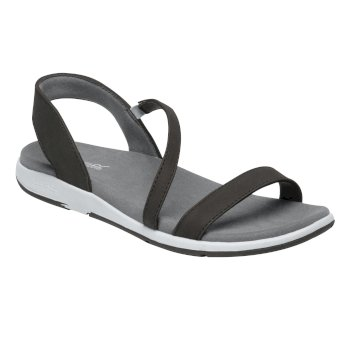 Women's Santa Louisa Leather Sandals Black Light Steel