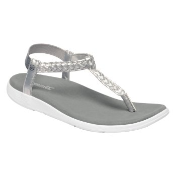 Women's Santa Luna Braided Sandals Silver White